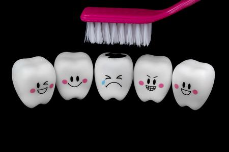 diente: Estado de �nimo dientes de juguetes Foto de archivo