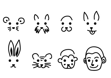 the human face: Face animal and human vector