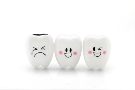 fake smile: Tooth smile and cry emotion isolated on white background, With clipping path. Stock Photo
