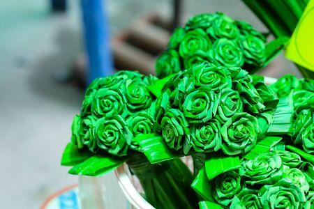 pandanus tree: Green pandan leaves a bouquet of flowers.