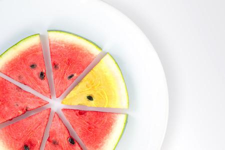 pastèque rouge et jaune en tranches sur la plaque blanche, concept d'entreprise de part de marché