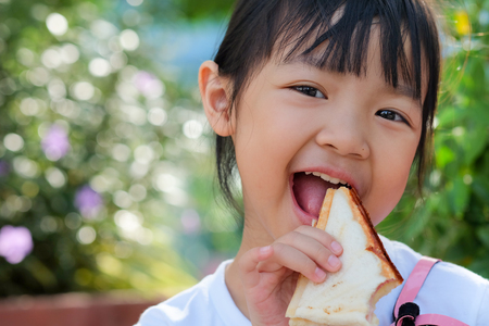 Asian child girl eating a sandwich with a bright smile Banco de Imagens
