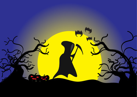 angel of death: Halloween day ,Angel of Death pumpkins yellow Moon bat and Silhouette tree background , vector illustration.