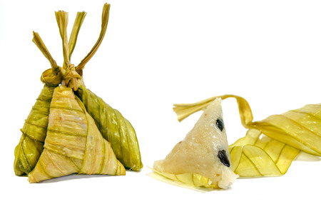 southern thailand: Boiled rice wrapped in leaves enough Local Southern Thailand Stock Photo