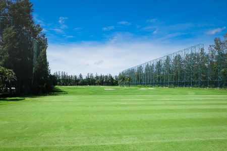 Golf driving range,Landscape Wide green lawns of golf courses