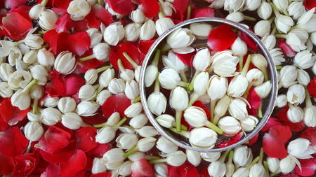Jasmine and roses in silver bowl ,Songkran festival in Thailand.