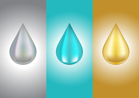 Drops of liquid silver water and gold, vector illustration