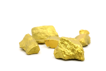 A lump of gold mine on a white background