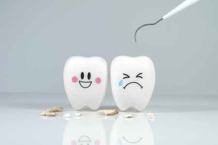 dental calculus: Teeth smile and crying emotion with dental plaque tool ,Concept Dental care cleaning  bacterial plaque