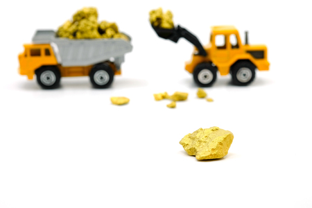 Gold ore mine with  Dump truck and bulldozer on white background