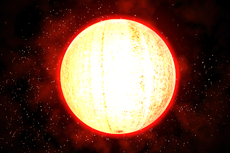The glowing planet radiates heat in the galaxy.