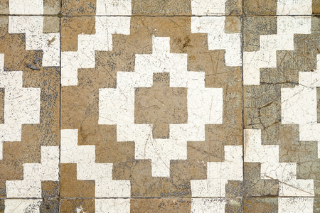 Background texture Brown tiled floor Old and dilapidated