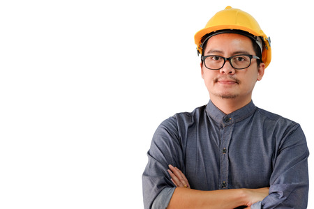 Asian engineers man keeping arms crossed isolated on white background with clipping path