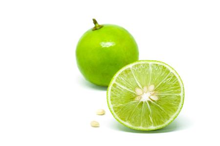 Green Lime fruit slice on white background Stock Photo