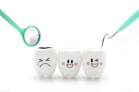 Teeth smile and crying emotion with dental mirror and dental plaque cleaning tool isolated on white background, With clipping path Banque d'images