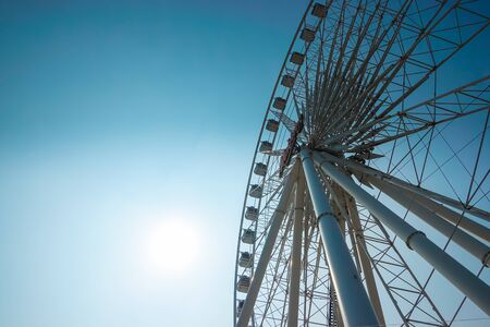 Bangkok, Thailand - December 11, 2017: Big Ferris Wheel on the sky at ASIATIQUE The Riverfront at bangkok thailand