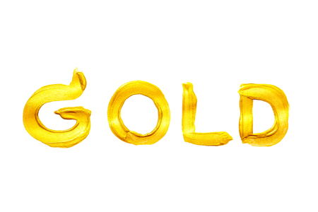 Gold Handwriting Use a brush with acrylic gold on a white background.