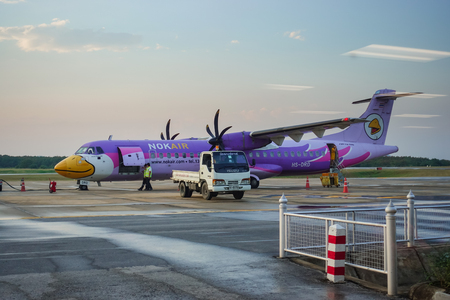 LOEI, Thailand - January 9, 2018: Nok Airs airplane arrives at the destination of Loei. are Preparing to take the baggage Redakční