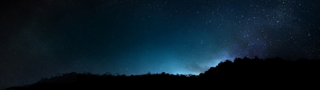Mountain silhouette on Constellation Stars in the Universe Galaxy Background Reklamní fotografie