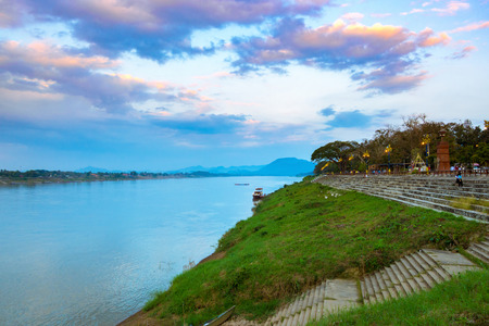 Beautiful landscape evening sky the Mekong River Chiang Khan, Thailand Standard-Bild - 113245810