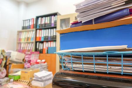 Many documents on the employee's desk with selective focus Reklamní fotografie - 113245813