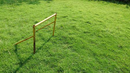 Small Soccer Ball On the green lawn Фото со стока