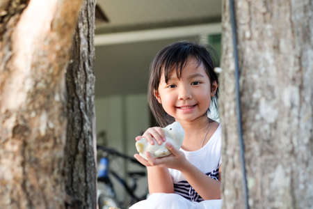 Asian cute Child girl smiling and holding a toy behind a tree Standard-Bild