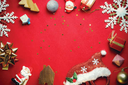 Christmas and happy new year 2019 concept decorations on red carpet background with copy space