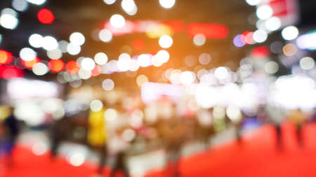 Abstract background blurred many people in the exhibition expo event or trade fair Stock Photo