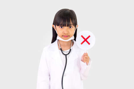 Asian child girl in a doctor's outfit Campaign and demonstrate wearing the right mask Correct on a white background