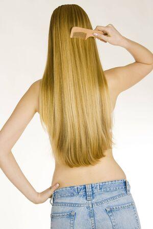 mann mit langen haaren: K�mmen Frau in Jeans