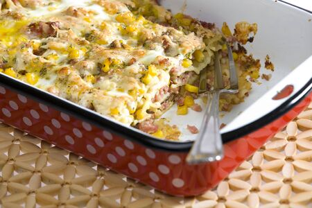 fryingpan: pasta baked with smoked meat and corn