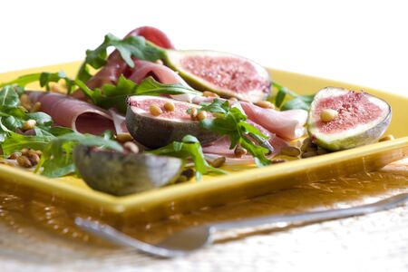 Spanish ham with figs and pine nuts Stock Photo - 5063616