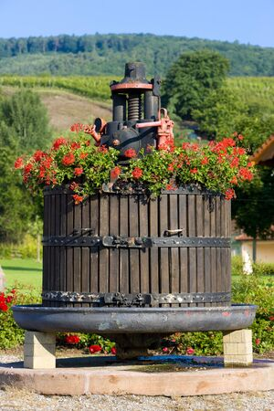 winepress: wine-press, Orschwihr, Alsace, France