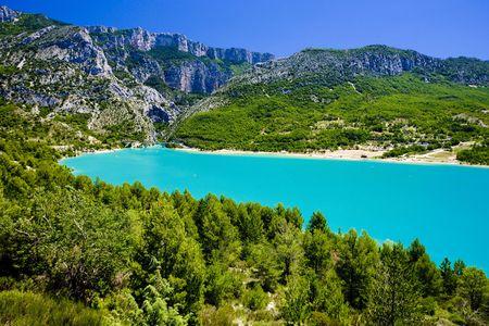les: St Croix Lake, Les Gorges du Verdon, Provence, France Stock Photo