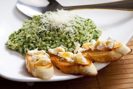 alimentation: spinach rissoto Stock Photo