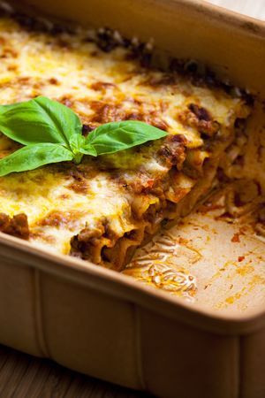 fryingpan: lasagne with tomato sauce and minced meat Stock Photo
