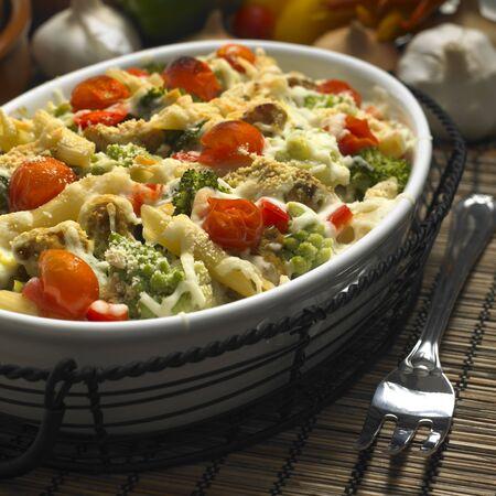 pasta baked with turkey and Roman cauliflower photo