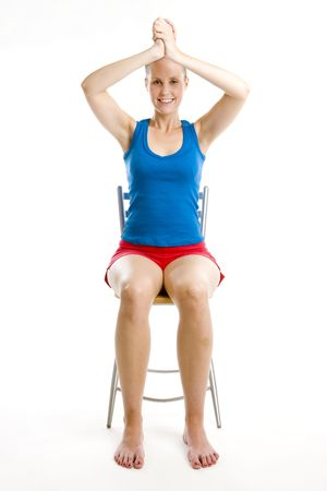sit down: exercising woman sitting on chair