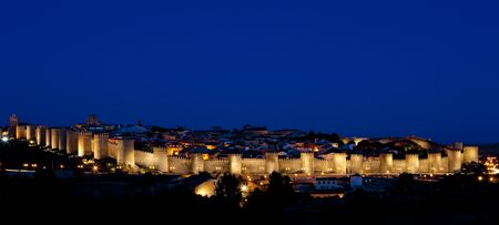 Avila at night, Castile and Leon, Spain photo