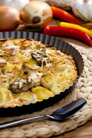 champignons: potato cake with champignons and leek