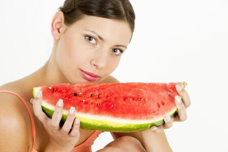 portrait of woman with water melon photo