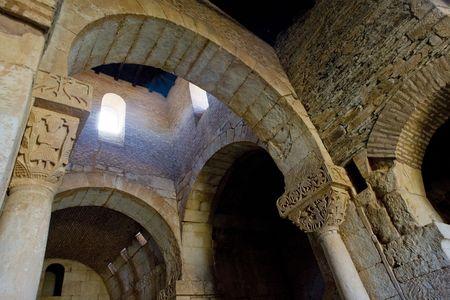 architectural architectonic: churchs interior, San Pedro de la Nave, El Campillo, Zamora Province, Castile and Leon, Spain Editorial