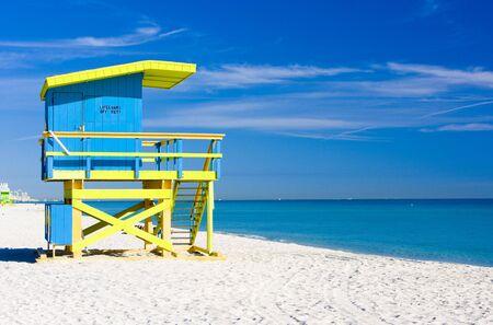 beach hut: cabin on the beach, Miami Beach, Florida, USA Stock Photo