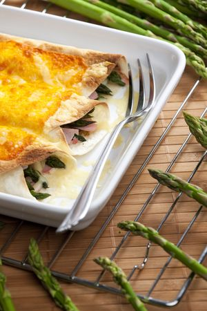fryingpan: baked tortillas with green asparagus and ham