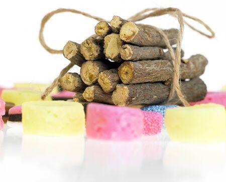 liquorice: liquorice and liquorice root Stock Photo