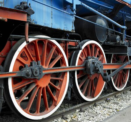 detail of steam locomotive 11-022 in front of railway station in Belgrade, Serbia photo