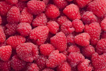 plentiful: raspberries Stock Photo