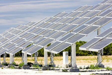 castile leon: solar panels, Castile and Leon, Spain Stock Photo
