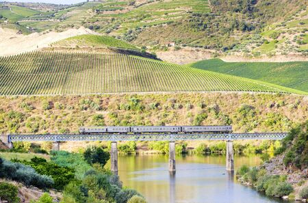 viaducts: train on railway viaduct in Douro Valley, Portugal Stock Photo